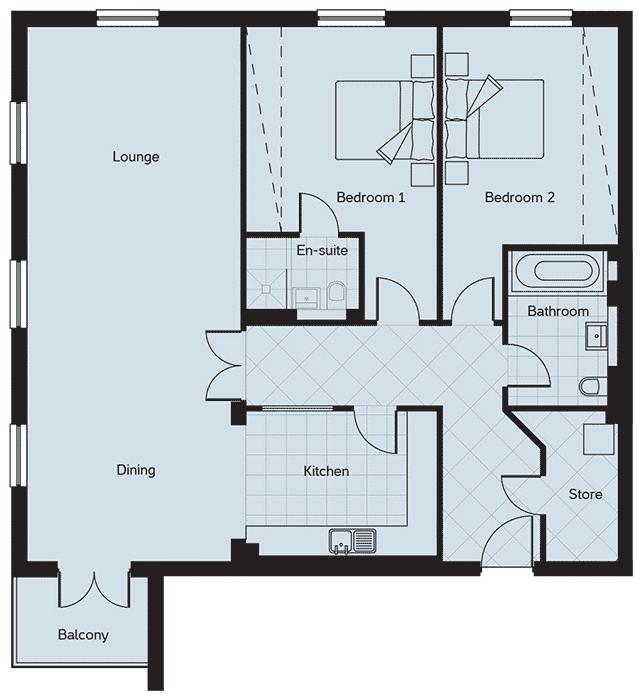 Apartment 3, The Pavilions, Ramsey Floorplan