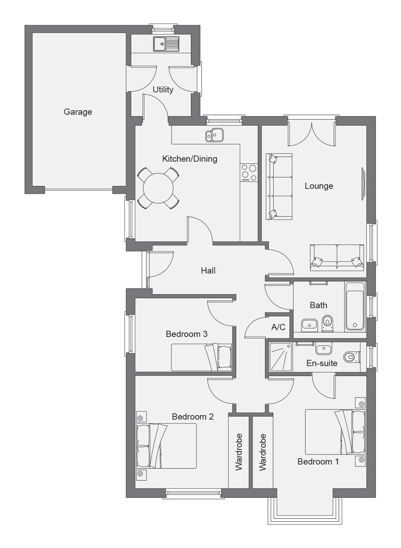 The Hawthorn, Detached with Single Garage, Auldyn Meadow, Ramsey Floorplan